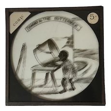Victorian Cartoon Magic Lantern Slide Black Americana Interest