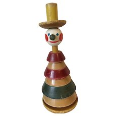 Vintage Wooden Stacking Toy Clown