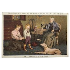 French Trade Card Advertising New Home Sewing Machine Co.