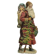 Victorian Santa Claus Die Cut Scraps Pink Robe Hooded Father Christmas