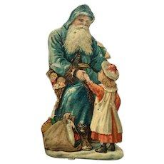 Victorian Santa Claus Die Cut Scraps Blue Robe Hooded Father Christmas