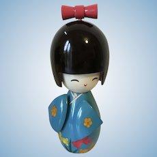 Vintage Japanese Kokeshi Doll Blue Kimono 5.5 inches