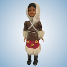 Vintage Inuit Eskimo Celluloid Amber Eyes Souvenir Doll