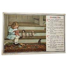 Edwardian 1910 Postcard Dolls Mending Day Bisque Doll Interest