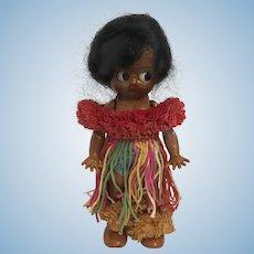 Vintage Celluloid Hula Hawaiian Souvenir Doll Kewpie Starfish Hands Googly Eyes