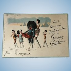 Antique Christmas Postcard Peg Doll and Black Doll Florence Upton Interest
