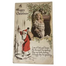Antique Christmas Postcard Black Doll Interest Clifton Postcard
