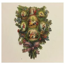 Antique Victorian Die Cut Bouquet Scraps Scrap Booking