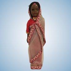 Vintage 1960s Celluloid Amber Eyes Indian Sari Tourist Souvenir Doll