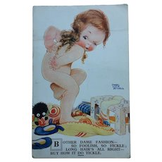Mabel Lucie Attwell Postcard Vintage 1930 Black Rag Doll Interest Signed Original