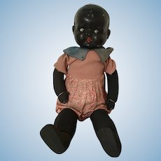 Bisque Head Black Doll soft Rag Doll Body made in England