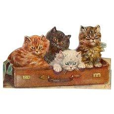 Victorian Die Cut Paper Scrap Kittens in Suitcase