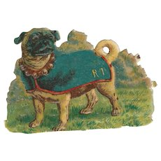 Victorian Die Cut Scrap Pug Dog