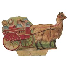 Victorian Die Cut Paper Scrap of a Lama Pulling a Cart with Children