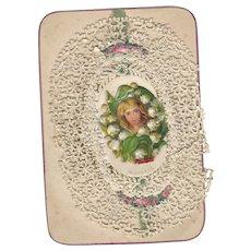 Victorian Greetings Card Ephemera Scrap Snow Drops