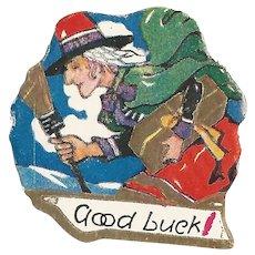 Vintage Sticker Ephemera Good Luck Witch and Broomstick