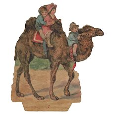 Large Victorian Die Cut Paper Scrap of a Camel with Children