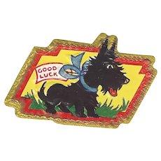 Vintage Sticker Ephemera Good Luck Black Scottie Dog