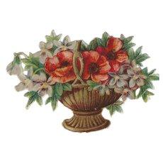 Antique Victorian Die Cut Basket Bouquet Scraps Scrap Booking Paper Cuts