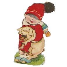 Vintage Scrap Ephemera Little Boy Carrying a Pig