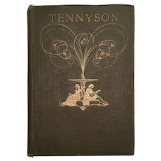 Rare Art Nouveau Antique Book The Oxford Tennyson Illustrated in Colour Early 1900s