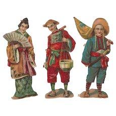 Antique Victorian Die Cut Asian Oriental Figures Scraps Scrap Booking Paper Cuts