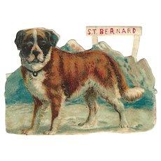 Victorian Die Cut Scrap St Bernard Dog