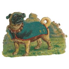 Victorian Die Cut Scrap Pug Dog Ephemera