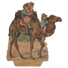 Victorian Paper Scrap Children Riding a Camel