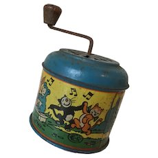 Vintage Emile Camelin Musical Tin Toy with Illustrations by D Laborne Circa 1930s