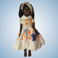 Vintage Celluloid Amber Eyes Black Ethnic Doll made in Hong Kong
