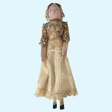 """Antique Grodnertal Doll 12"""" in Height all Original Costume"""