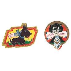 Vintage Sticker Ephemera Good Luck Black Scottie Dog and Black Cat