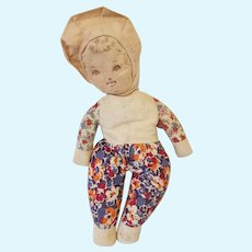 Vintage Rag Doll with Ink Drawn Face 1930s