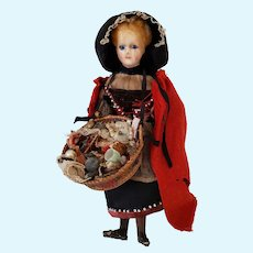 Antique Wax Pedlar Doll Peddler Character Wax and Composition Doll