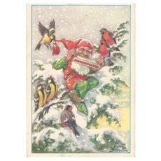 Vintage Christmas Postcard from Sweden God Jul Gnome