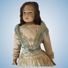 Antique Doll Paper Mache and Wax 13 inches approx
