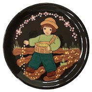 German Ceramic Plate Signed and numbered Handarbeit Folk Art approx 4.5 inches