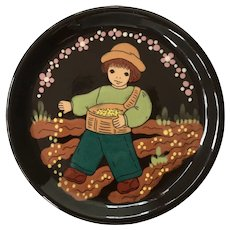 Vintage German Plate Signed and numbered Handarbeit Folk Art approx 4.5 inches