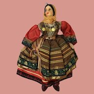 Vintage Cloth Greek Costume Girl Doll