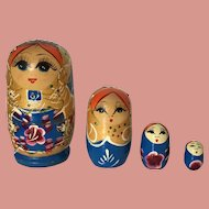 Russian Nesting Dolls Hand Painted set of 4