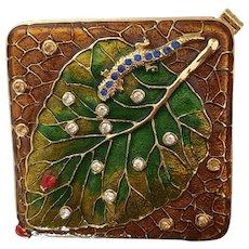 Jeweled Mirror Compact Gecko Lizard Ladybird Design