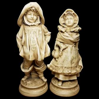 Early 20c Boy and Girl Porcelain Figures Royal Dux Austrian