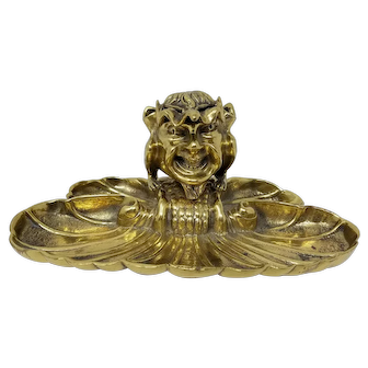 Victorian Brass Satyr Pan Inkwell With Pen Holder and Leaf Form Tray