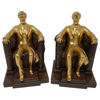 Abraham Lincoln In Chair Jennings Bros Bookends Exc Condition 2 Color
