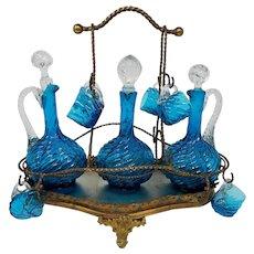 "Victorian Glass 13"" Liqueur Blue Swirl Tantalus 3 Decanters 8 Cups"