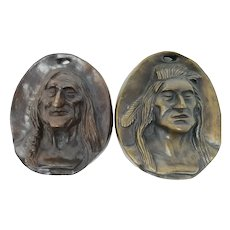 Charles M. Russell Pair Of Bronze Indian Plaques Young & Old Warrior