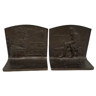 1916 Pair J. Griffoul Abraham Lincoln Bronze Bookends Bench White House