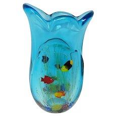 Mid Century Massive Murano Aquarium Vase 13 Inch 12.5 Pounds