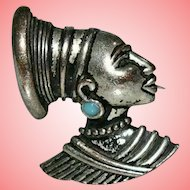 Antique African Turquoise Fine Brooch